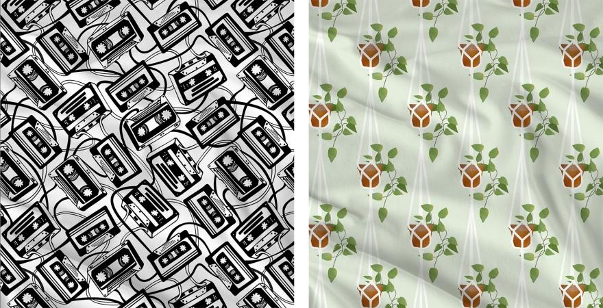 estampa_pattern_print_plant_k7_cassete